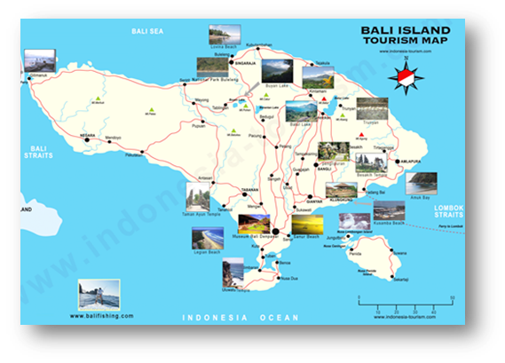 Indonesia tourism the island of god bali countries of the tourism map in bali gumiabroncs Choice Image